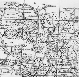 Richard Budgen's Sussex map 1724 (32KB); click for larger version (515KB)